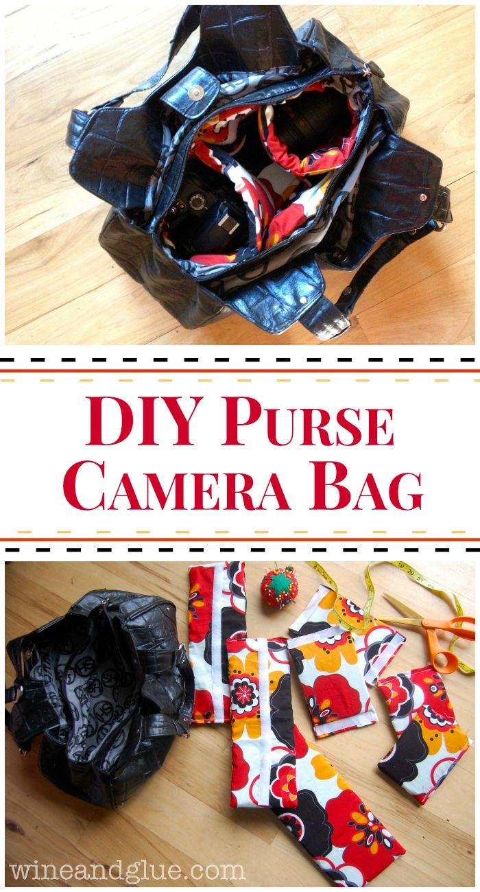 DIY Purse Camera Bag | www.wineandglue.com | A tutorial to make a fancy camera bag purse out of a second hand bag!