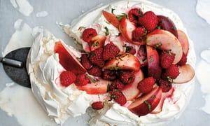 Tom Kitchin's pavlova with raspberries, peaches and lime mascarpone cream