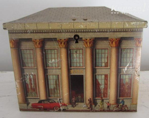 Antiek blikken blik spaardoos Nationale Bank, Blikken en dozen, Antwerpen   Kapaza.be