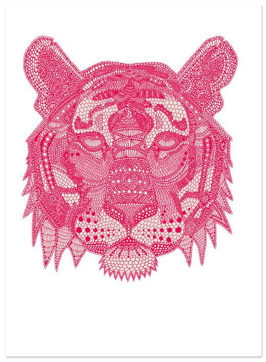 x: Pink Tigers, Claire Sculli, Inspiration, Pattern, The Artists, Illustrations, Design, Line Art, Animal
