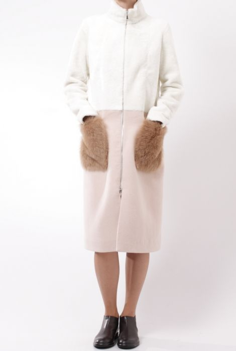 drome wool and sheepskin coat with fox fur pockets shop online
