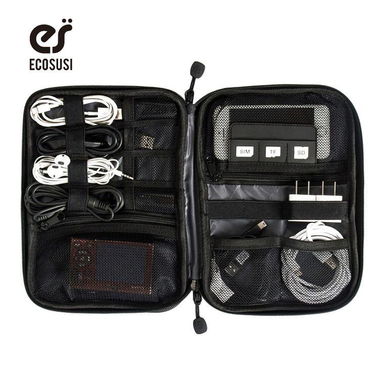 DE ECOSUSI Accesorios Electrónicos Bolsa de Nylon Para Hombre de Viaje Organizador Para la Línea de Fecha Cable USB Tarjeta SD Dispositivo de Bolsa de Accesorios Digitales