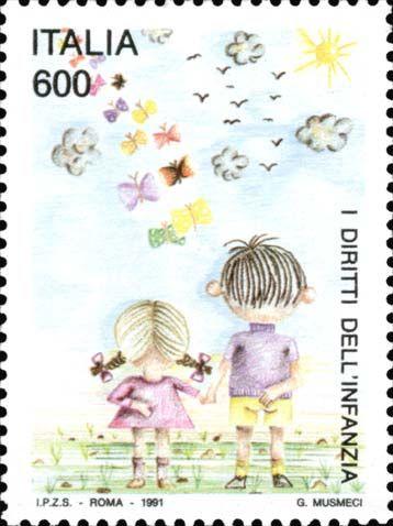 1991 - Convenzione sui diritti dell'infanzia - bozzetti vincitori del concorso indetto dall'Amministrazione Postale riservato agli istituti Statali d'Arte.