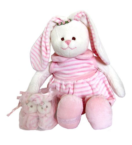 Norma is a large soft and huggable bunny for babies and the baby shoes are so cute with bunny heads and a built in rattle.  #Teddy #bunny  #sendateddy #babytoys