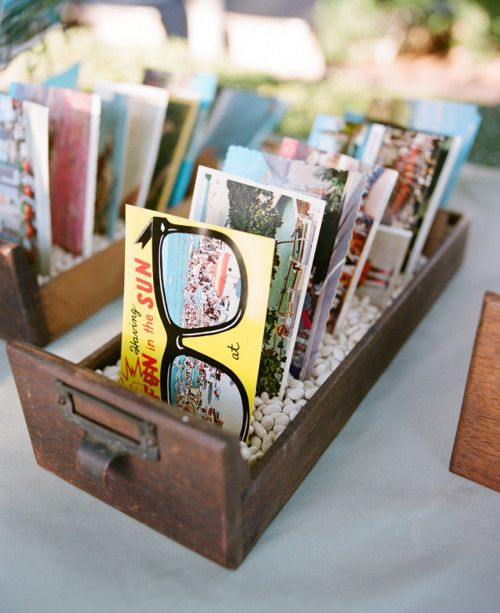 Wedding guestbook with post cards from your wedding deastination - beach wedding ideas