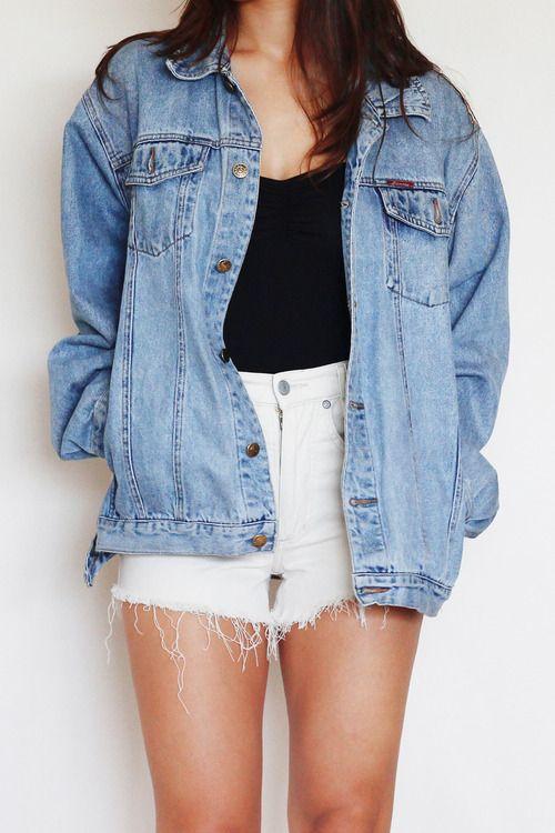 343232ad Oversized denim jacket and cut off shorts for spring!! | Spring into Summer  in 2019 | Oversized denim jacket, Fashion, Denim fashion