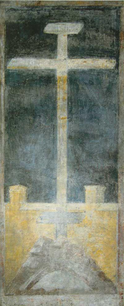 Голгофа (Голгофский крест) Рублев Андрей  Ок. 1400 г. Успенский собор на Городке, Звенигород Фреска юго-восточного столпа собора.