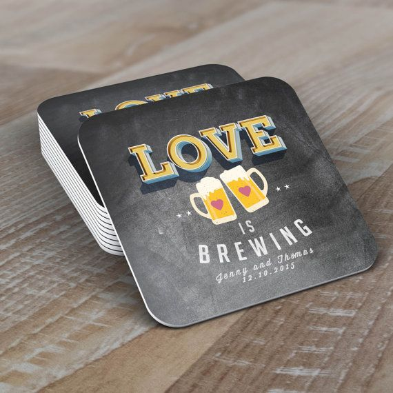 Personalized Coaster LOVE is brewing Coed wedding by LyonsPrints