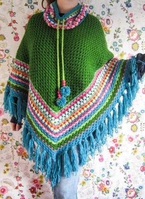 Crochet Inspiration - Poncho. I love this!