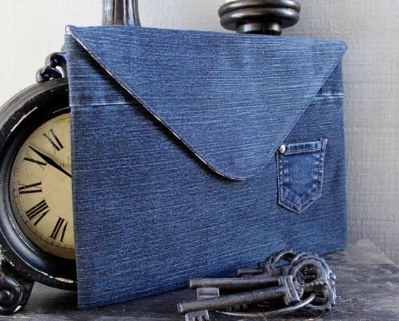 Denim Tablet/Laptop Case Clutch with Back Zipper by AllintheJeans