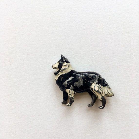 Miniature Border Collie dog  little antique by GalabeerandtheDog