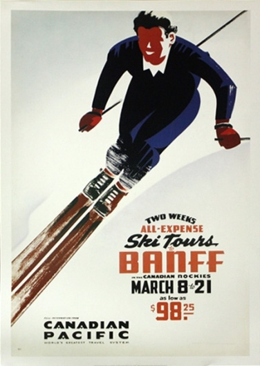 Vintage Banff ski poster - looks like dad after is third time down the mountain, as Mum and I struggled to get down the first time.
