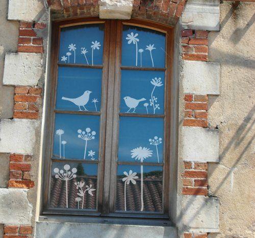 """Lovala Fenstertattoo - Motiv """"Herbstblumen"""" aus Milchglasfolie! Window Color, Fensterbild, Glastattoo, Vogelschutz, Warnvögel, Vogelabwehr Lovala http://www.amazon.de/dp/B00G244DTC/ref=cm_sw_r_pi_dp_GbUfub0R2V3WZ"""