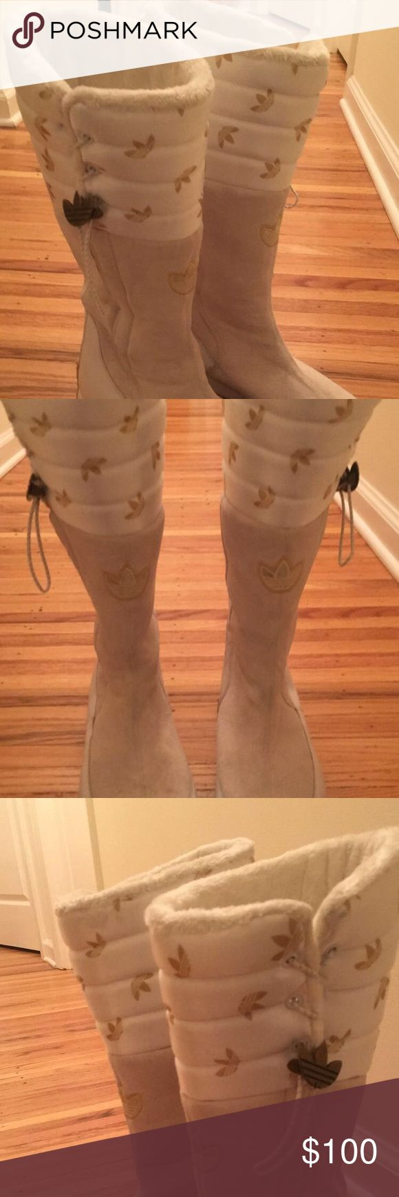 Woman's Winter white tall snow ❄️ boots Work twice / perfect condition/ perfect stylish sporty snow boot . adidas Shoes Winter & Rain Boots