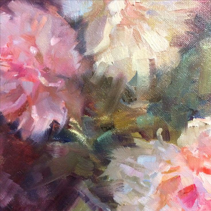 Peonies detail, oil painting by Heidi Hjort 2017 | Shabby Chic