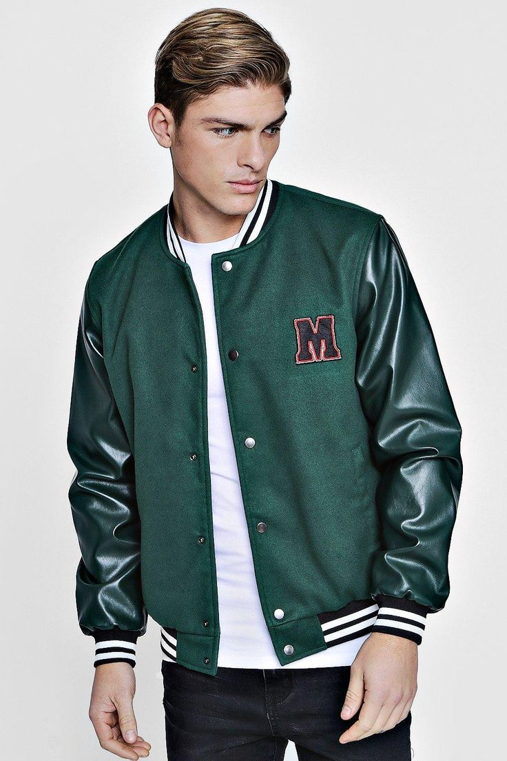 M Badge Faux Leather Sleeve Varsity Jacket Boohoo UK in