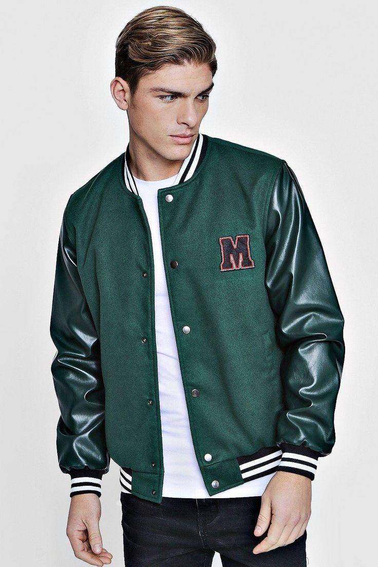 M Badge Faux Leather Sleeve Varsity Jacket Boohoo UK in