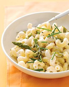 ... cheese, pasta water, and butter, and toss with cavatappi and asparagus