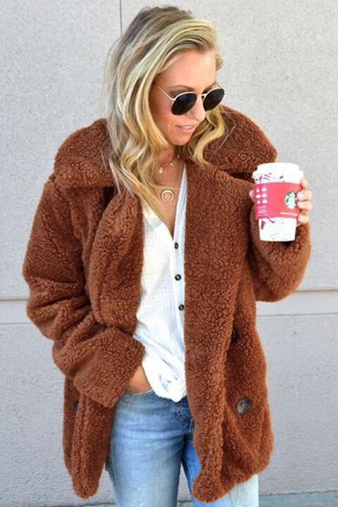 fleece faux fur teddy bear jacket coat women winter. Black Bedroom Furniture Sets. Home Design Ideas