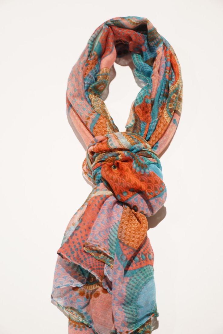 Women Scarves - Exciting multi-coloured style scarves, that comes in a mix of either pink, orange, green or blue. Soft yet vibrant by sleepcouture on Etsy