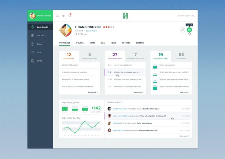 Free Course Dashboard UI PSD