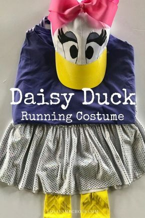Here's an easy DIY Daisy Duck Running Costume for your next runDisney race or even for Halloween.  I made this simple running costume in less than 30 minutes. You can even make the hat for your next disney vacation!