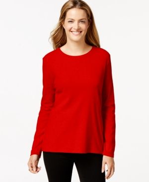 Style & Co Crew-Neck Top, Only at Macy's - Red XXL