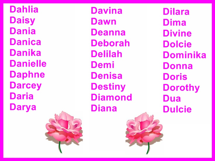 English Baby Girl Names With Letter D