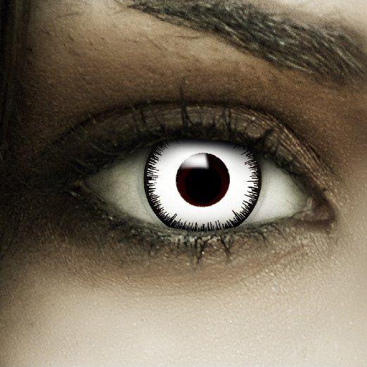 """Farbige Kontaktlinsen """"Vampir"""" + Kunstblut Kapseln + Behälter von FXContacts in weiß, weich, ohne Stärke als 2er Pack - angenehm zu tragen und perfekt zu Halloween, Karneval, Fasching oder Fasnacht #halloween #gadgets"""
