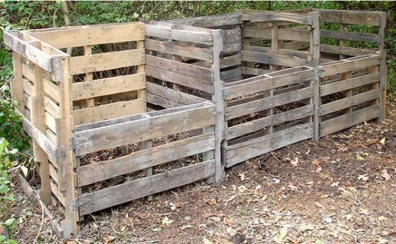A nice three-bay compost bin setup made from pallets - often available for free at your local hardware or building supply store.