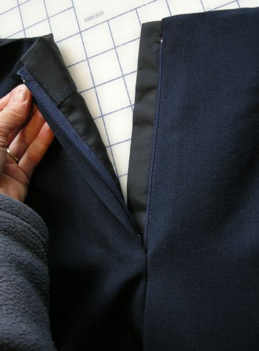 The completed faced fly front. Technique when zipper goes to the top of pant (when there is no waistband)