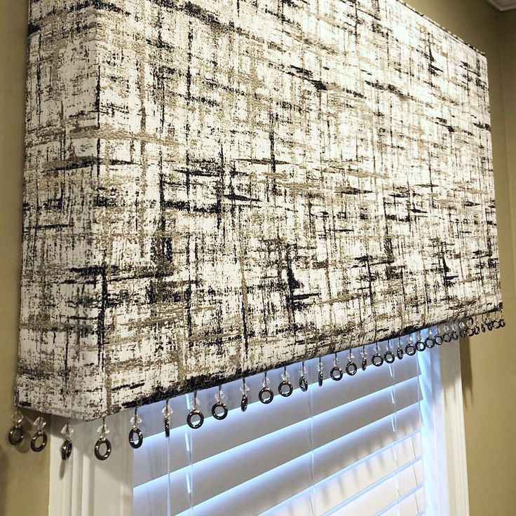 Modern valance with metal ring trim embellishment. Black and white home decor. Window treatments from Drapery Nation