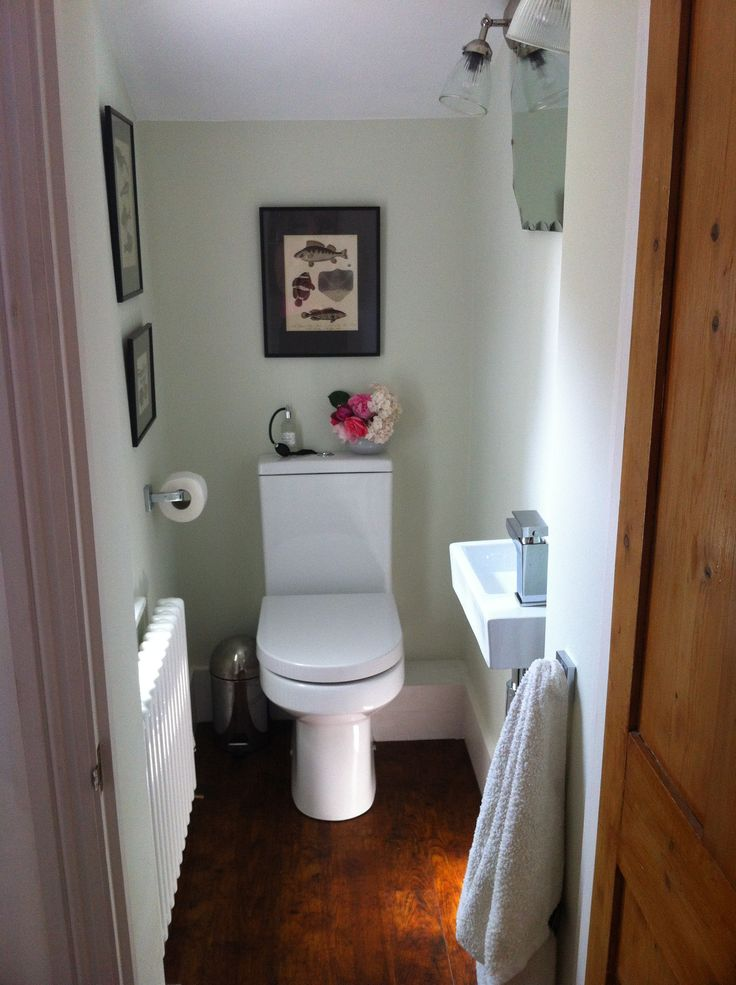 Small Toilet / WC / downstairs loo - Finished at last! Pale green / antique prints / vintage mirror