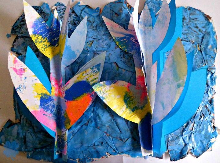 Art project for kids - paper cut tulips 3D.