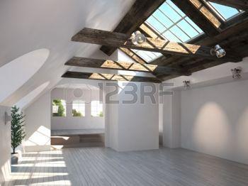 legno lucernari: Stanza vuota con soffitto in legno rustico e lucernari modello scena 3d