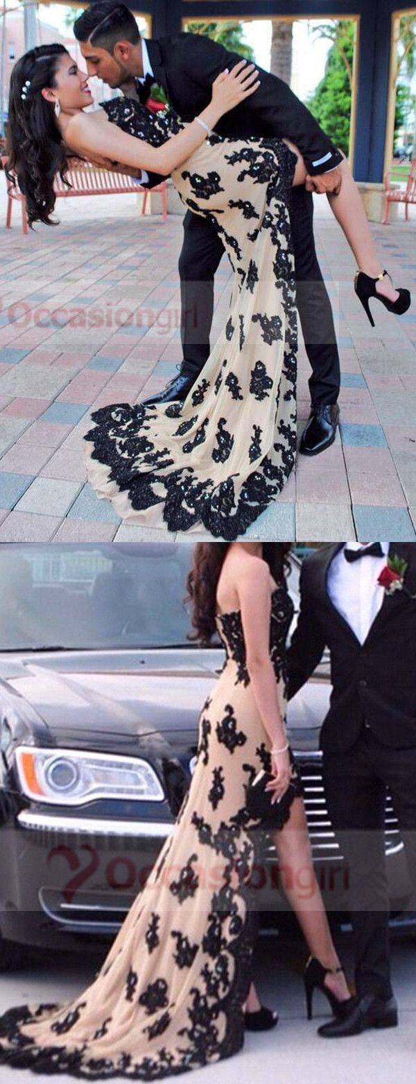 prom dresses, 2016 high low prom dresses, strapless prom dresses, champagne prom dresses with black lace appliques