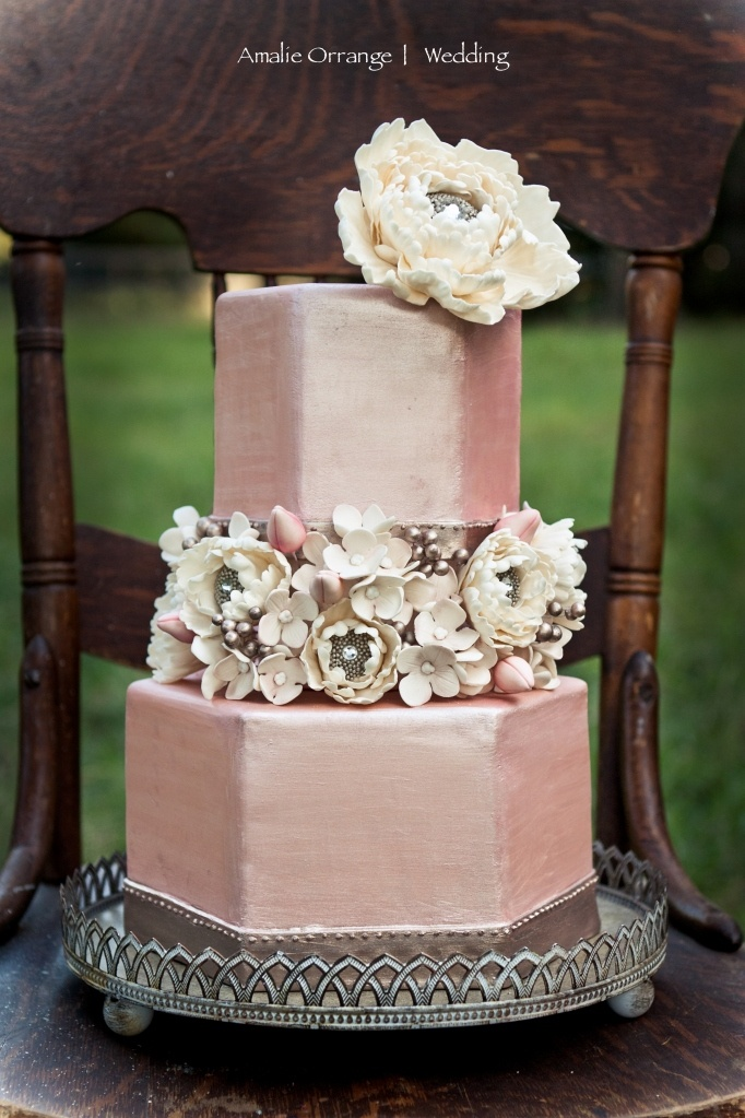 Randomly came across our cake! Here is what they said: Satin Metallic Cake: beautiful for a late summer, early fall modern wedding with romantic tones in neutrals, grays, and dusty rose colors