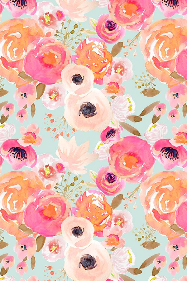 Blush Florals Blue by indybloomdesign - Hand painted florals on fabric, wallpaper, and gift wrap.  Bold hand painted flowers in pink, peach, and orange on a teal background.