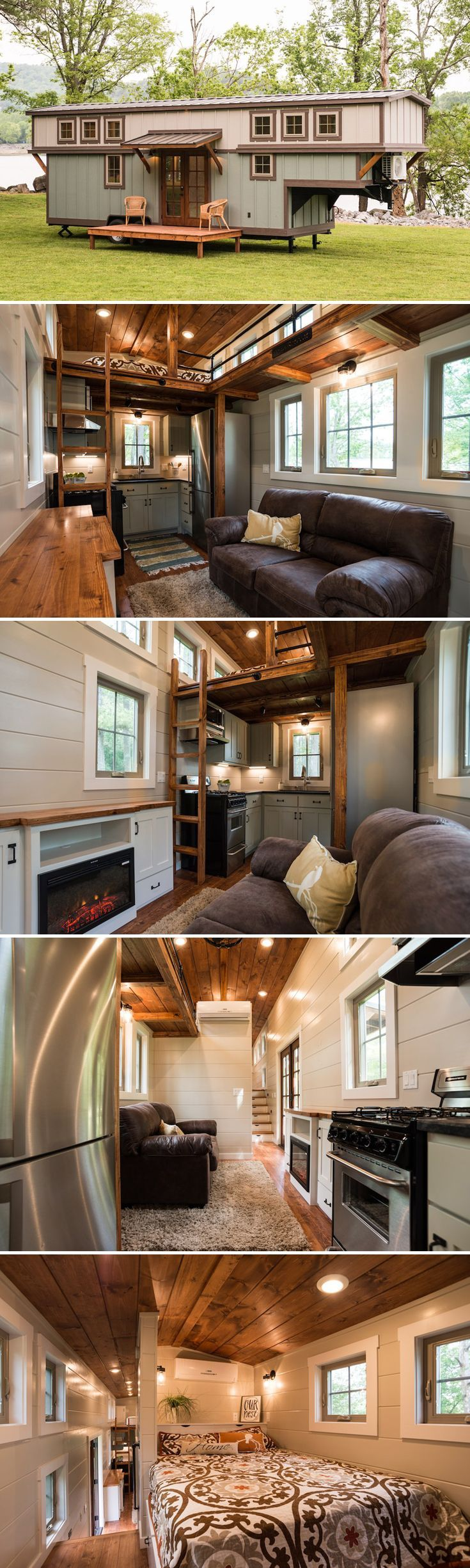 The Retreat is a luxurious 416-square-foot two bedroom gooseneck tiny house built by Timbercraft Tiny Homes in Guntersville, Alabama.