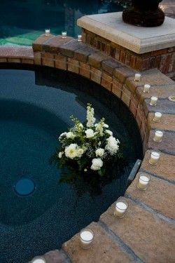 12 best images about lights by the pool on pinterest floating candles floating candles for for Floating candles swimming pool wedding