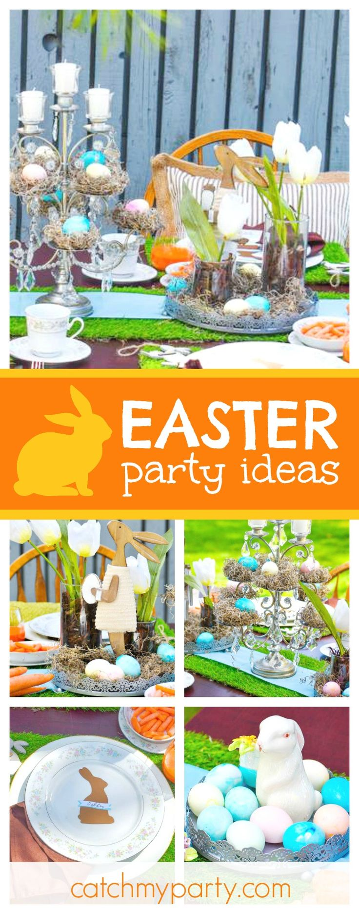Take a look at this cute Easter Brunch! The table settings are so pretty!! See more party ideas and share yours at CatchMyParty.com