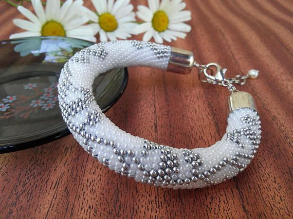 Elegant White silver beaded bracelet Wedding Bridal Jewelry