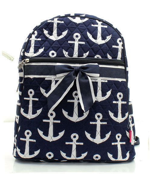 Quilted Anchor Backpack with free monogram by atltrends on Etsy