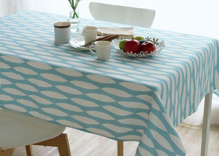 撥水加工 テイヤブルーン テーブルクロス プリント ヘツキ ブルー 130×130cm