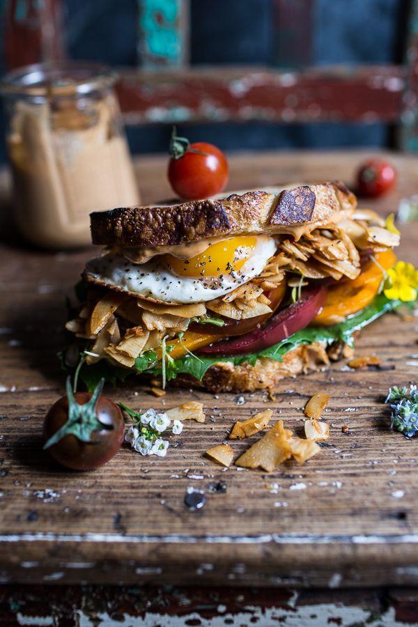 "Vegan BLT (…minus that egg) with Chipotle Tahini ""Mayo""   halfbakedharvest.com @hbharvest"