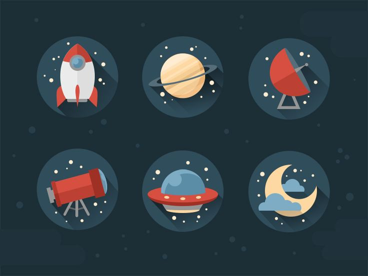 Space icons made in Photoshop for my upcoming tutorial