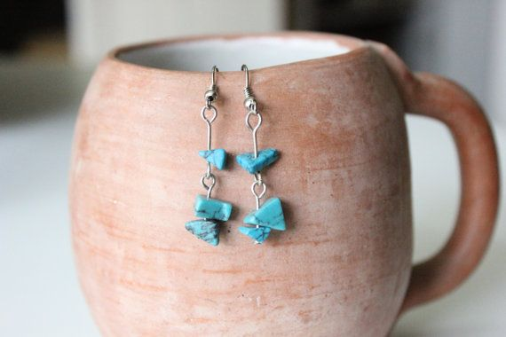 Turquoise Dangle Stone Earrings by KusiPeru on Etsy, $8.00