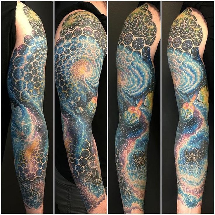 """Epic tattoo sleeve by @nickfriederich_amf! #galaxy #space #tattoo  Via: @tattooistartmag  www.illustratedmonthly.com digital books | vectors | fonts | art…"""