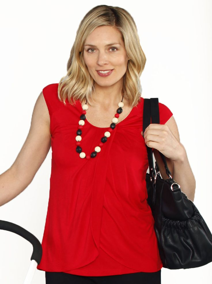 Breast Feeding Top with Petal Front - Red, $44.95, is a great top for work or casual wear during your pregnancy and once bub has arrived with easy nursing access.