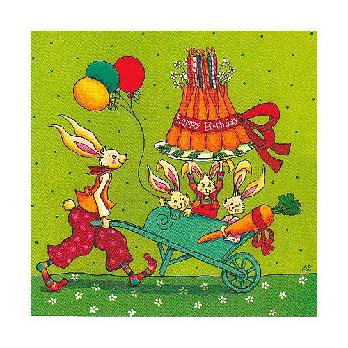 """Colette Reydet carte postale carrée (14 cm) """"Les lapins d'anniversaire"""""""